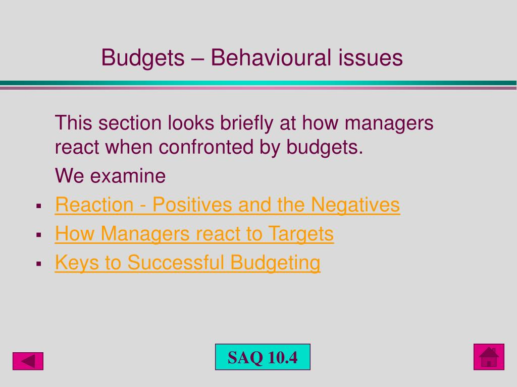 Budgets – Behavioural issues