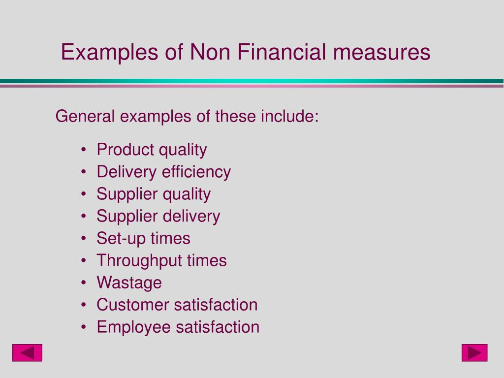 Examples of Non Financial measures
