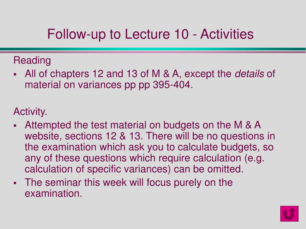 Follow-up to Lecture 10 - Activities
