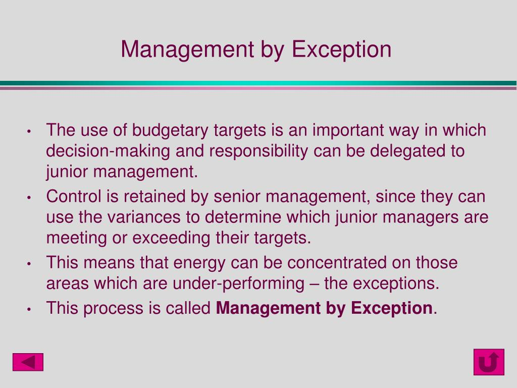 Management by Exception