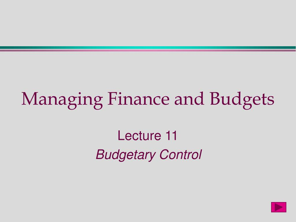 managing finance and budgets l.