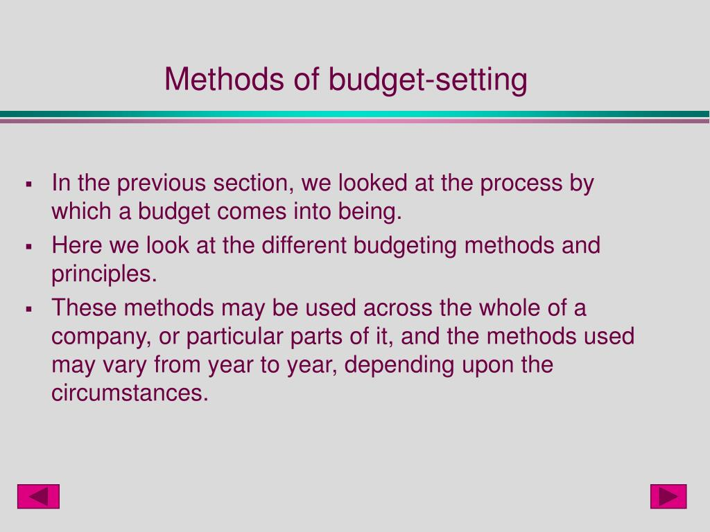 Methods of budget-setting
