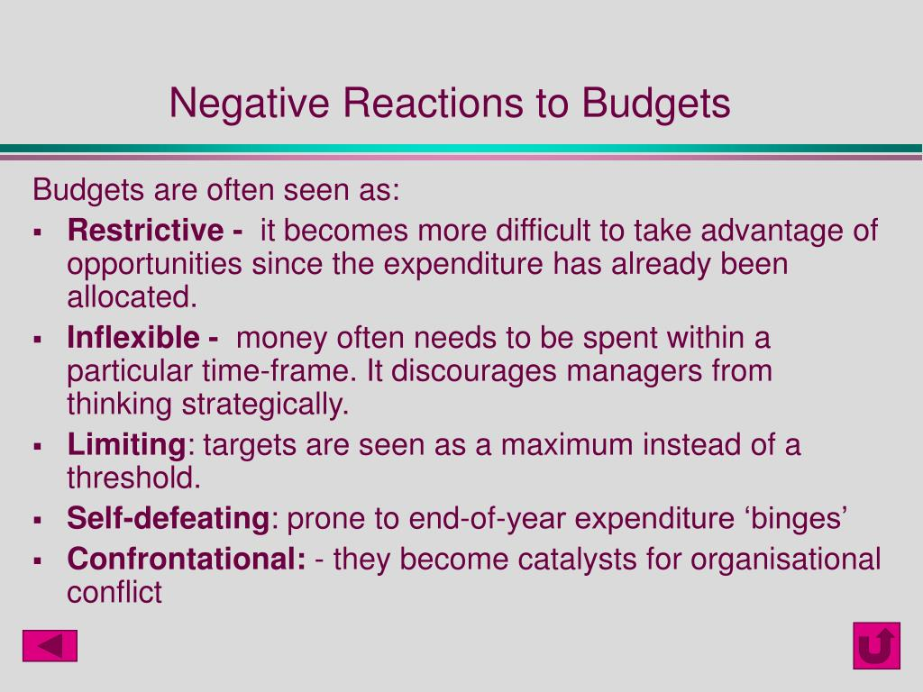 Negative Reactions to Budgets