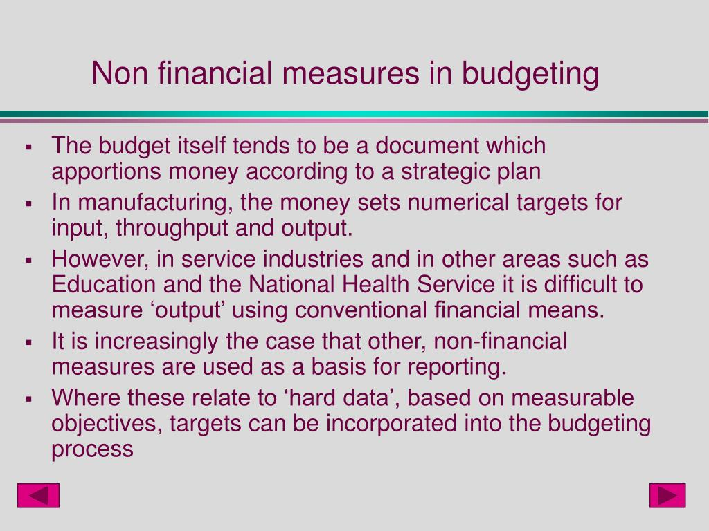 Non financial measures in budgeting