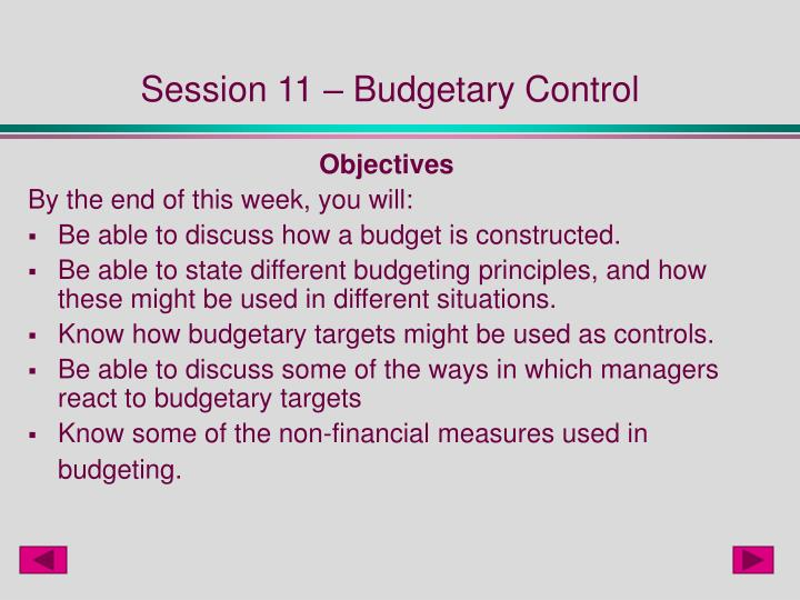Session 11 budgetary control
