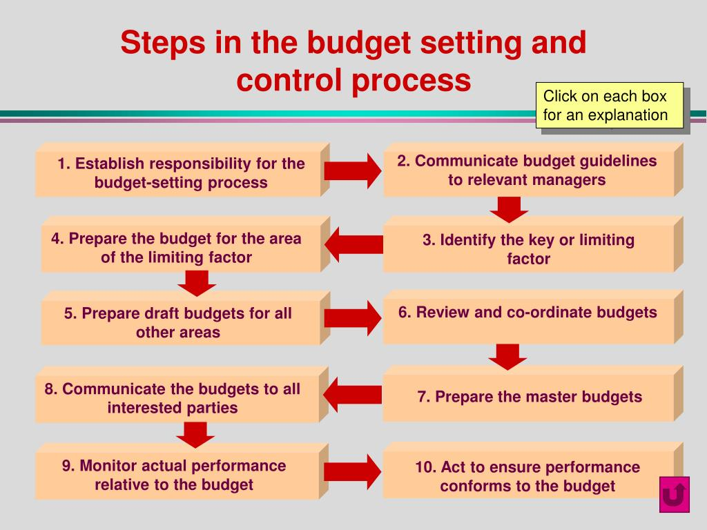 Steps in the budget setting and control process