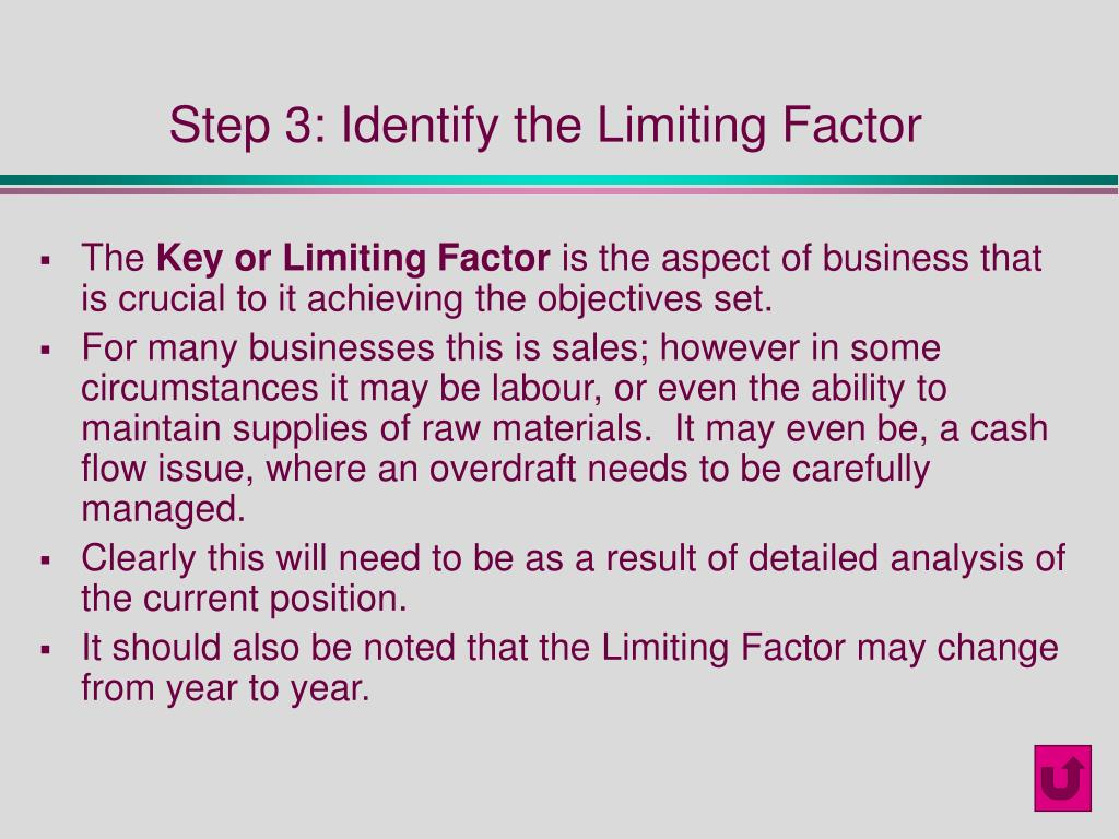 Step 3: Identify the Limiting Factor