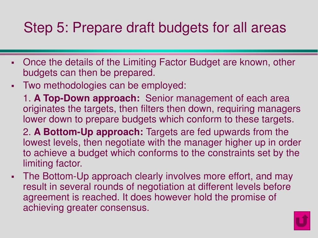 Step 5: Prepare draft budgets for all areas