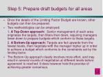 step 5 prepare draft budgets for all areas