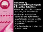 evaluation by experimental psychologists cognitive scientists