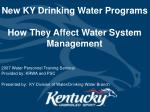 new ky drinking water programs how they affect water system management