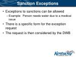 sanction exceptions