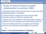 roots of china finland e health collaboration in summer 2003