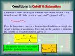 conditions in cutoff saturation