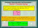 transistor characteristics and parameters maximum transistor ratings