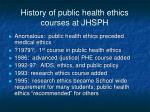 history of public health ethics courses at jhsph