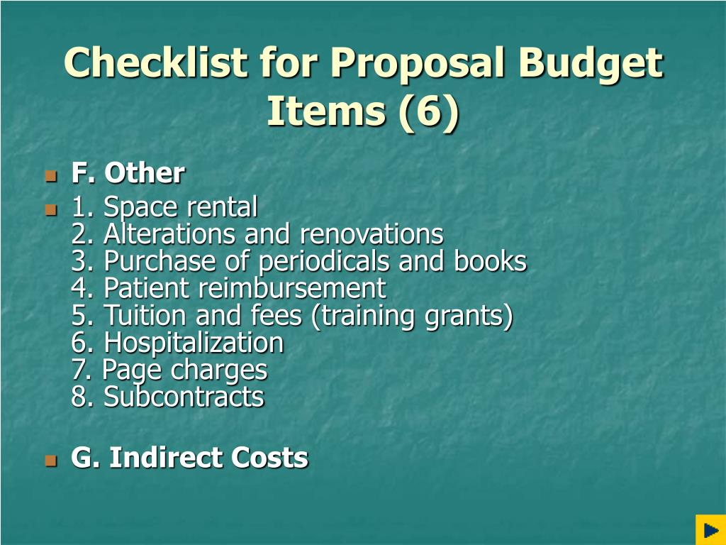 Checklist for Proposal Budget Items (6)