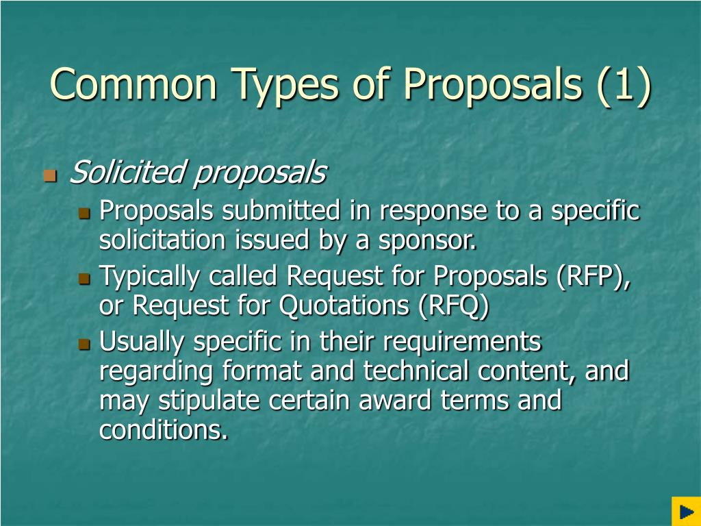 Common Types of Proposals (1)