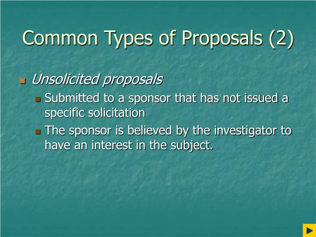 Common Types of Proposals (2)