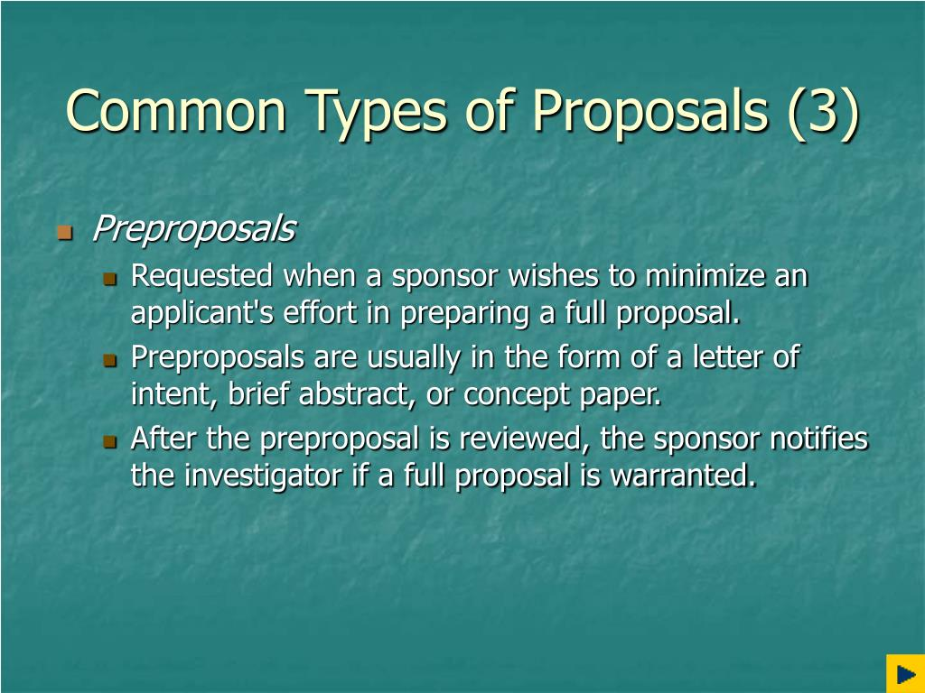 Common Types of Proposals (3)