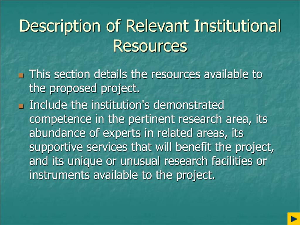 Description of Relevant Institutional Resources