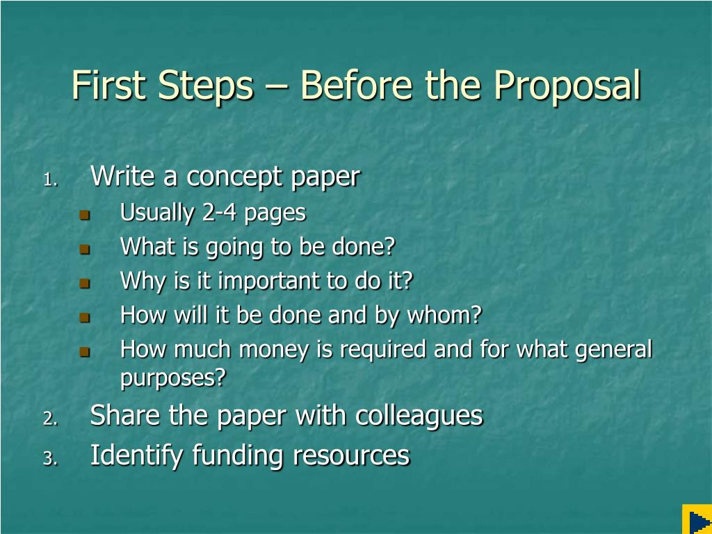 First Steps – Before the Proposal