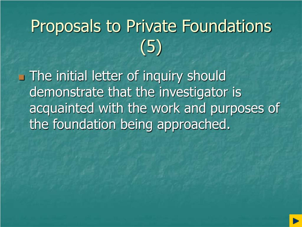 Proposals to Private Foundations (5)