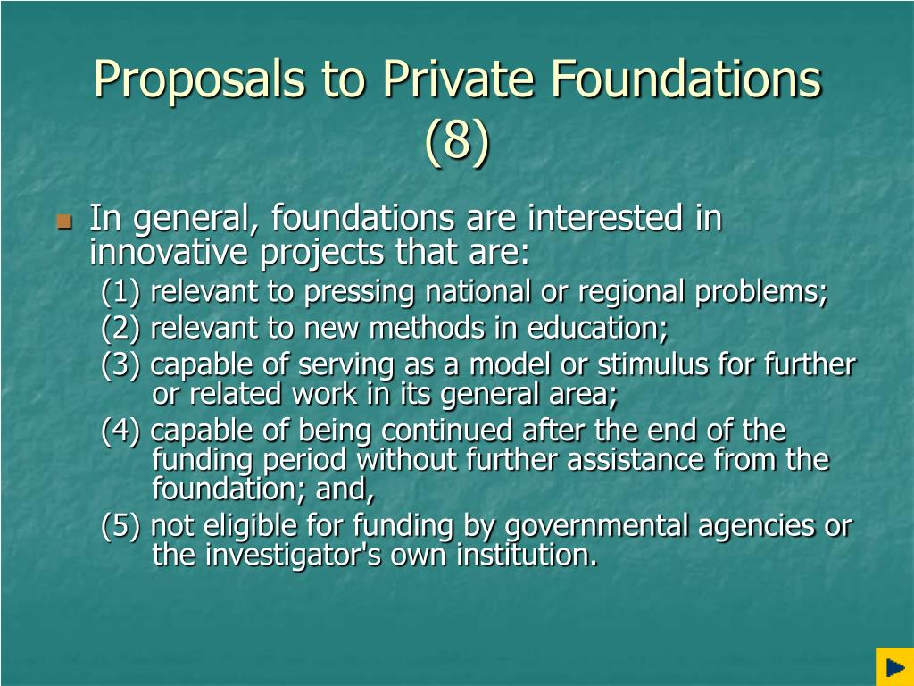 Proposals to Private Foundations (8)