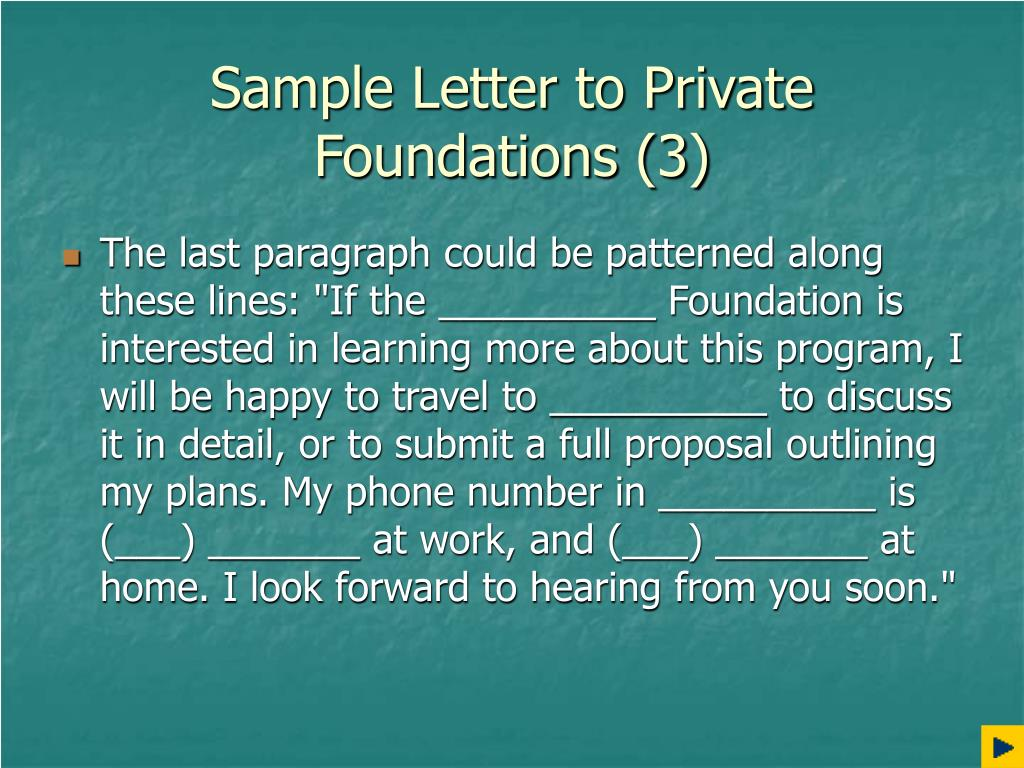 Sample Letter to Private Foundations (3)