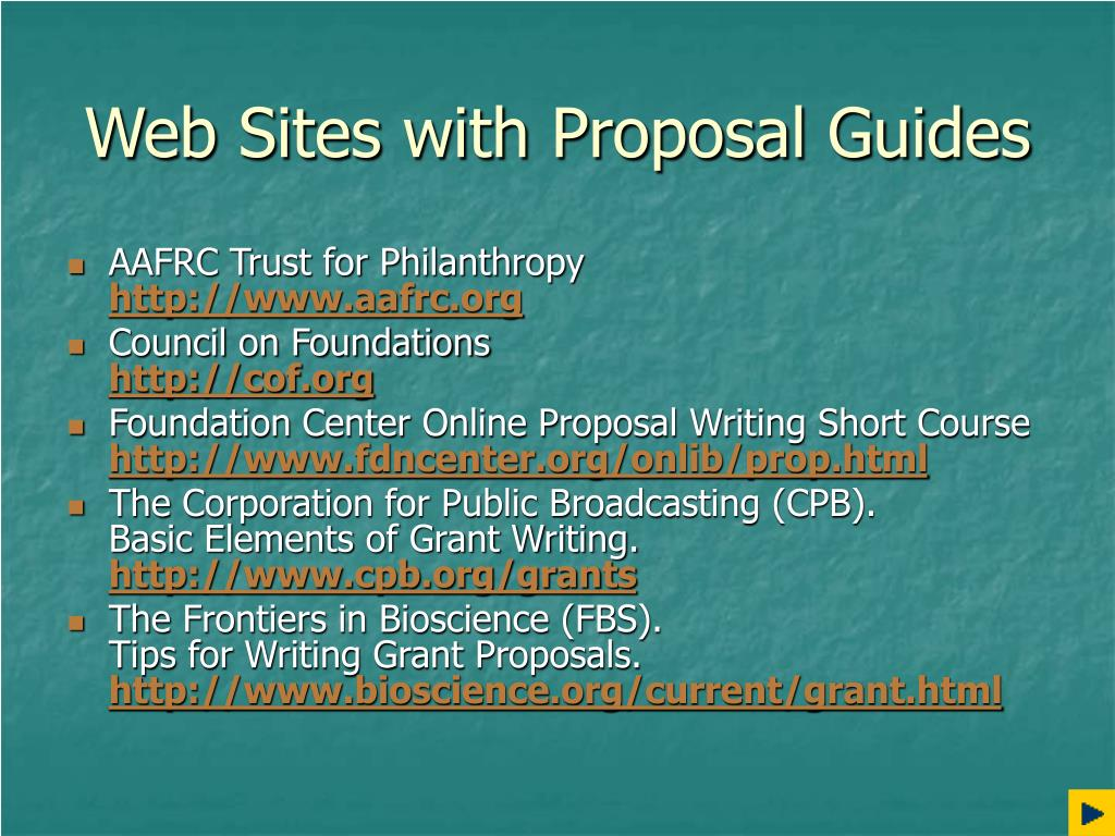 Web Sites with Proposal Guides