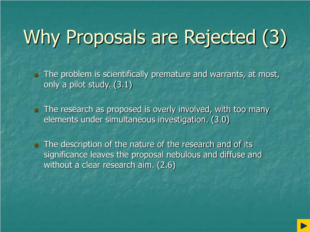 Why Proposals are Rejected (3)