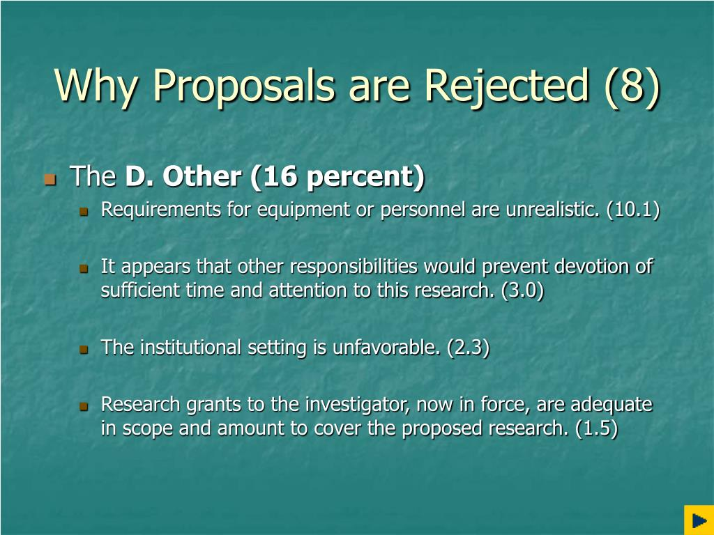 Why Proposals are Rejected (8)