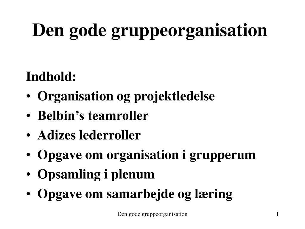 den gode gruppeorganisation l.