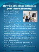 how do objectives influence your lesson planning
