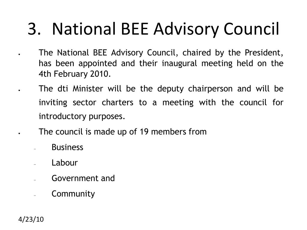 3.	National BEE Advisory Council