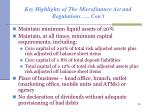 key highlights of the microfinance act and regulations con t