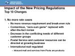 impact of the new pricing regulations top 10 changes
