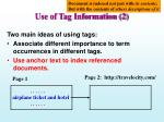 use of tag information 2
