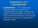 essentials of a partnership