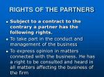 rights of the partners