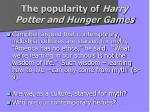 the popularity of harry potter and hunger games