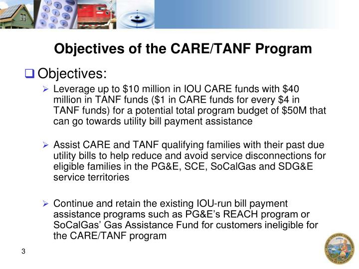 Objectives of the care tanf program