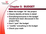 chapter 5 budget