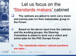 let us focus on the standards makers cabinet