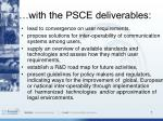 with the psce deliverables