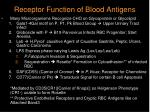 receptor function of blood antigens