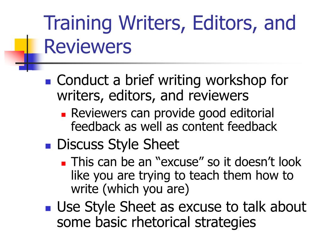 Training Writers, Editors, and Reviewers