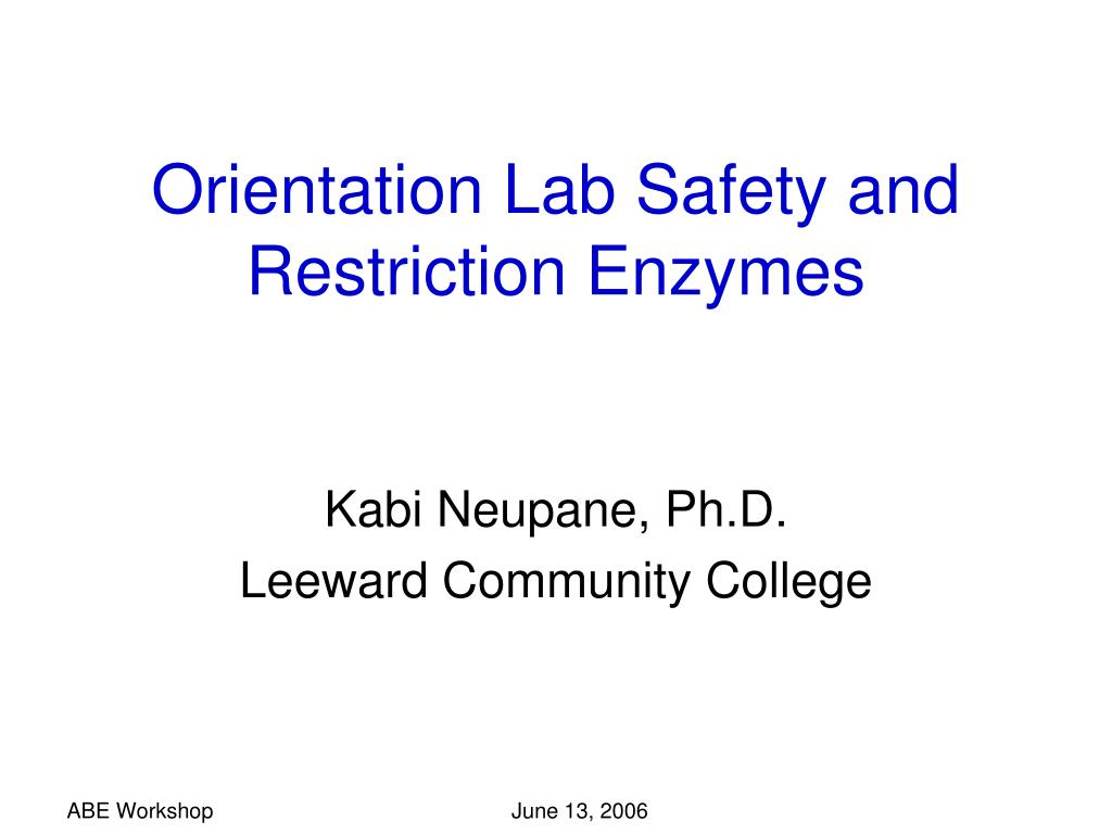 orientation lab safety and restriction enzymes l.