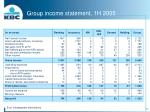 group income statement 1h 2005