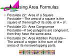 using area formulas